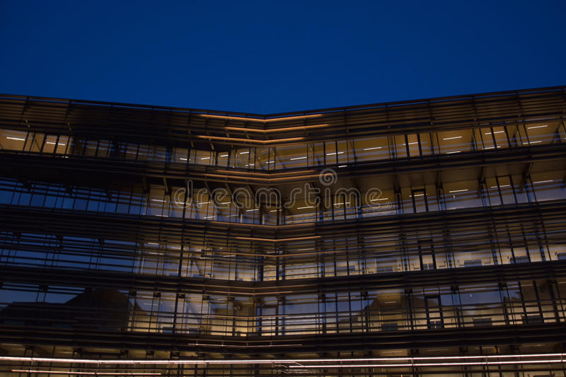 Modern facade at blue hour. Newest landmark in Ghent Belgium. Detail of The new library, The library is called `de Krook` and situated in the hart of The stock photography