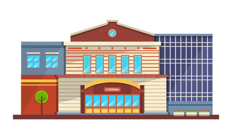 Modern facade of cinema building, architectural structure for recreation, entertainment. vector illustration