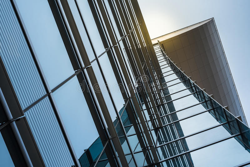 Modern facade design with glass and steel. Of high rise building royalty free stock image