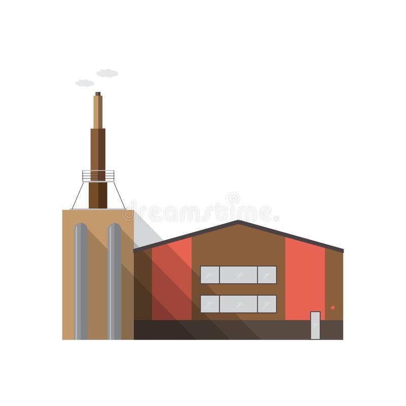 Modern factory building with pipe emitting smoke isolated on white background. Manufacturing plant of contemporary vector illustration