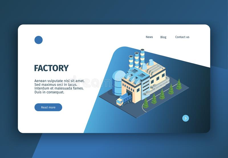 Modern Factory Landing Page. Isometric industrial plant factory concept banner website landing page with editable text clickable links and buttons vector vector illustration