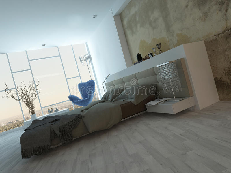 Modern factory-style bedroom interior with concrete wall stock illustration