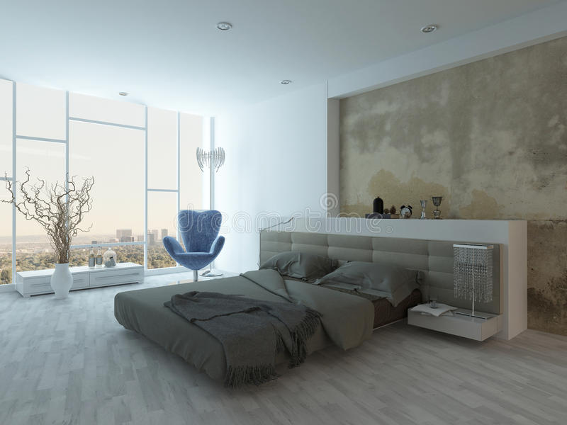 Modern factory-style bedroom interior with concrete wall royalty free illustration