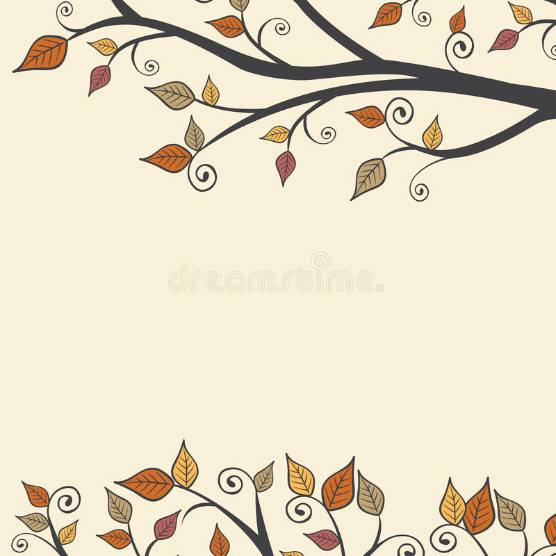 Modern Fall Autumn Leaves Branch Square Background 1.  vector illustration