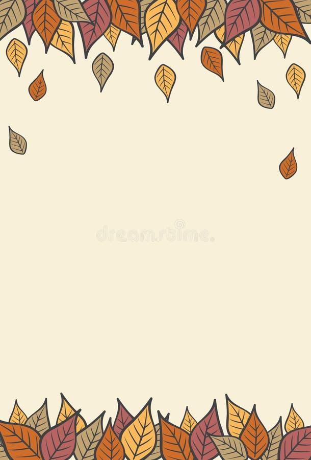 Modern Fall Autumn Leaves Vertical Background 1.  stock illustration