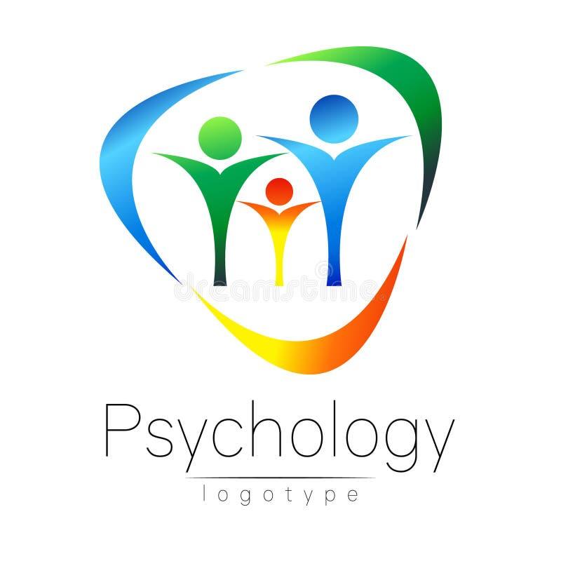 Modern familjlogo av psykologi cirkla folk Idérik stil Logotyp i vektor Inskriften av rött färgar lokaliserat över text av vit fä vektor illustrationer