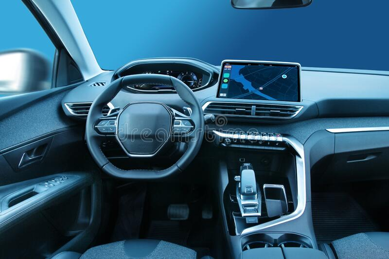 Modern family car cabin interior design with led displays royalty free stock image