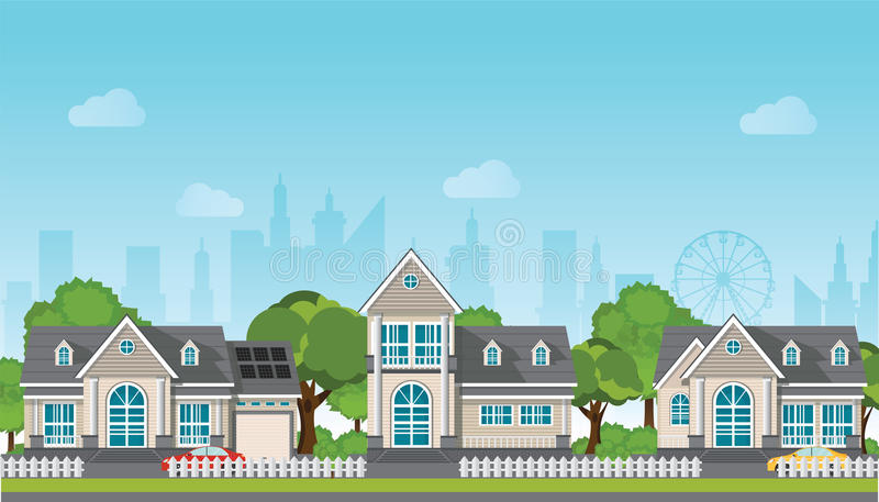 Modern family house with car. vector illustration
