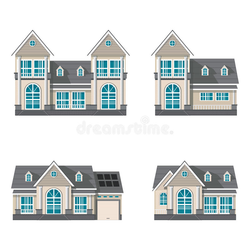 Modern family house isolated on white background royalty free illustration