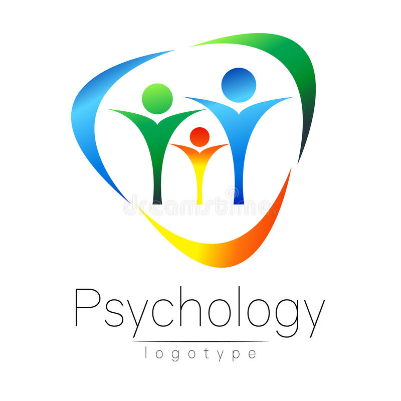 Modern Family logo of Psychology. People in a circle. Creative style. Logotype in vector. Design concept. Brand company vector illustration