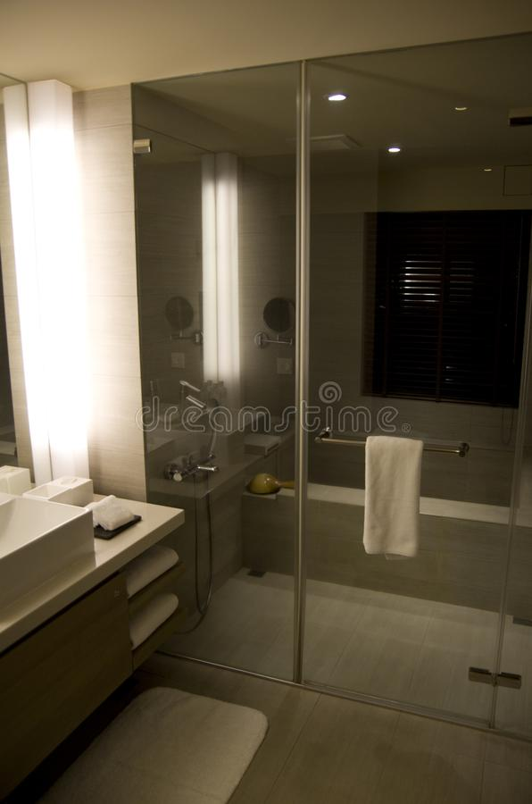 Modern fancy hotel room bathroom. Beautiful modern sink in a 4 star hotel bathroom stock images