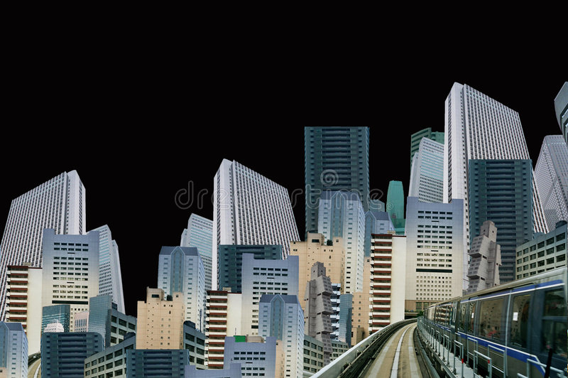 Modern fantasy. Skyline and skyscrapers may be isolated stock illustration