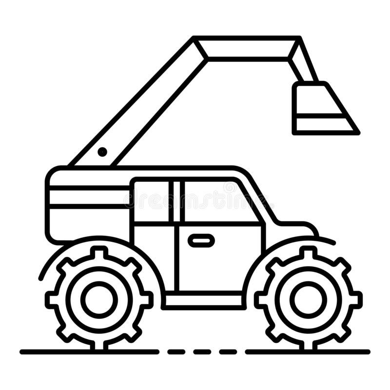 Modern farm excavator icon, outline style. Modern farm excavator icon. Outline modern farm excavator vector icon for web design isolated on white background royalty free illustration