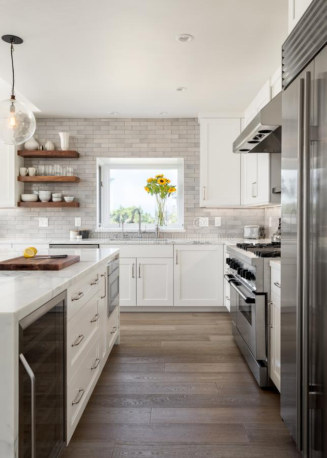 Modern farmhouse kitchen design remodel vertical orientation. Interior view of a modern farmhouse style kitchen remodel, in vertical orientation royalty free stock images
