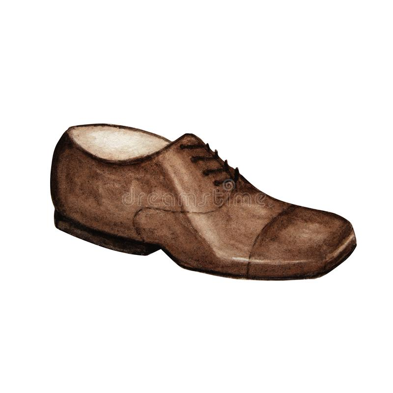 Modern fashion gentlemen s shoes. Luxury man brown leather shoe collection. Isolated with inscription, hand painted royalty free illustration