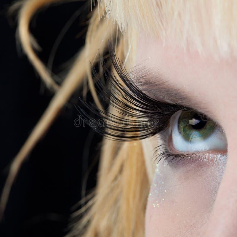 Modern fashion makeup of a female eye stock photos