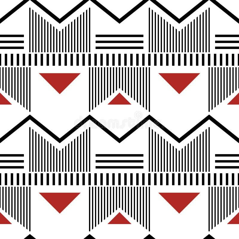 Modern fashion seamless geometric pattern white, black, red colo vector illustration