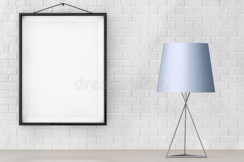Modern Fashion Table Lamp in front of Brick Wall with Blank Frame. 3d Rendering. Modern Fashion Table Lamp in front of Brick Wall with Blank Frame extreme royalty free illustration