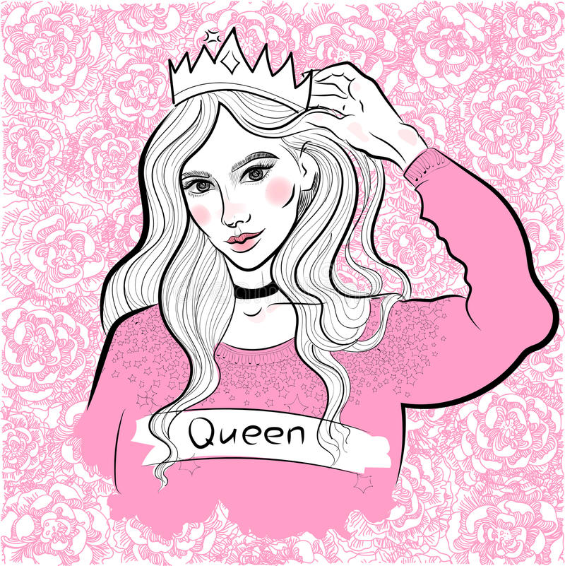 Modern fashionable girl in sweater and crown, queen, princess, on the background of blooming peonies and roses vector illustration