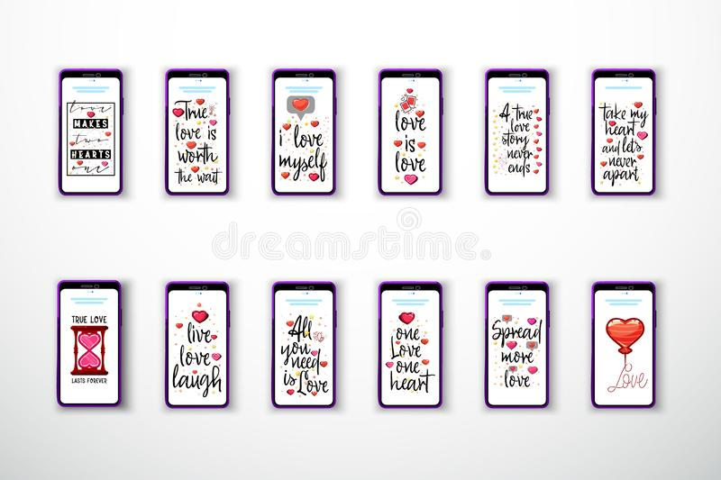 Modern fashionable love slogans on the background of a smartphone. royalty free illustration