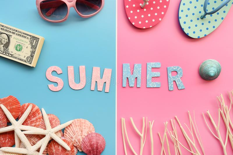 Modern fashionable sunglasses and sandals with starfish royalty free stock image