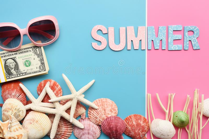 Modern fashionable sunglasses and starfish with shell royalty free stock photography