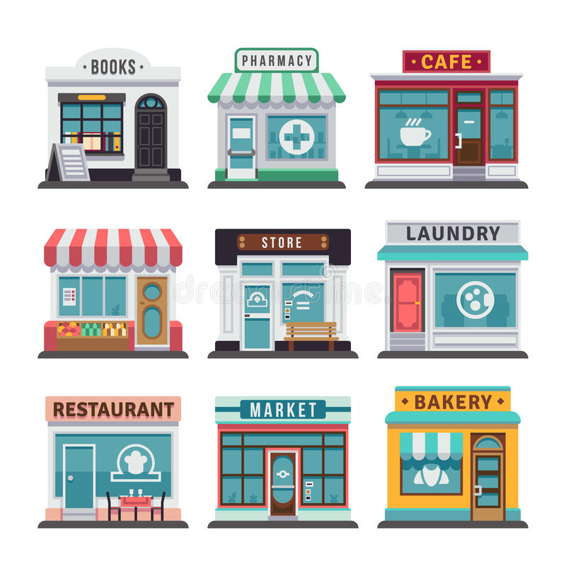 Modern fast food restaurant and shop buildings, store facades, boutiques with showcase flat icons royalty free illustration