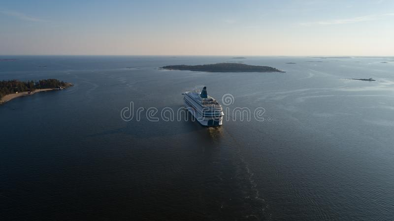 Modern ferry depart from port of Helsinki to Tallinn. Travelling in baltic sea. Modern ferry depart from port of Helsinki to Tallinn. Travelling in baltic sea royalty free stock photos