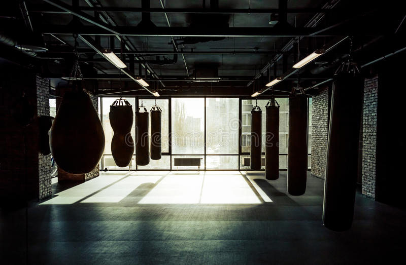 Modern fight club. Empty modern fight club with punching bags of different shapes for practicing martial arts royalty free stock photo