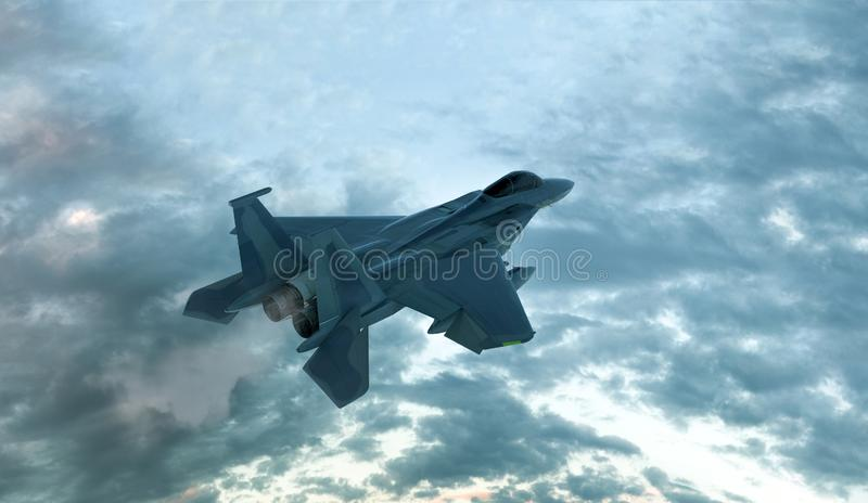 Modern Fighter Aircraft Computer generated 3D illustration stock illustration