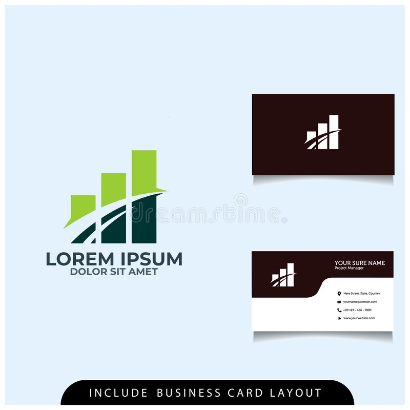 a simple financial logo design concept with a business card layout vector illustration
