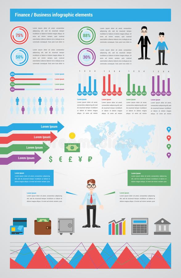 Modern Finance infographic, vector illustrations. Infographic about business and finance. Include icons elements, charts, map, text blocks, mascots. Paper style royalty free illustration