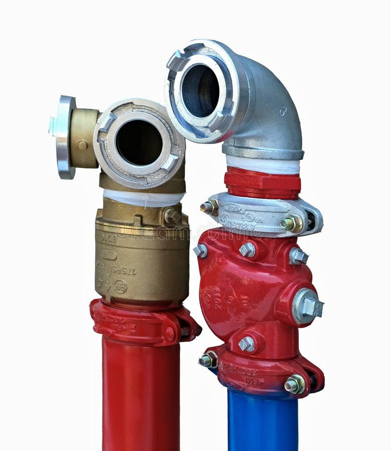 New Fire hydrant. Modern fire hydrant in a new residential building stock images