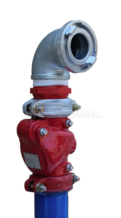New Fire hydrant. Modern fire hydrant in a new residential building stock image