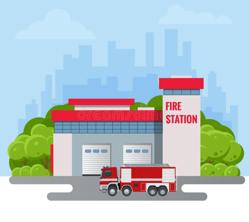 Modern Fire Station Building vector illustration. Fire Department. royalty free illustration
