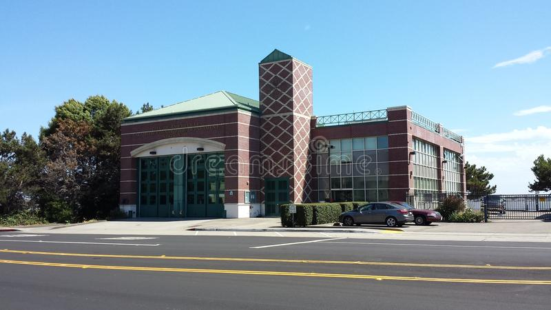 Modern firehall with clock tower - Emeryville, Cal stock photography