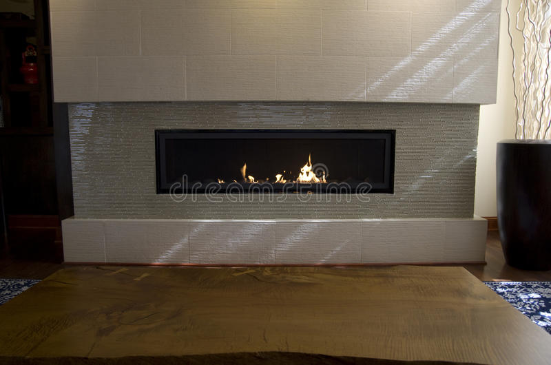 Modern fireplace royalty free stock photos