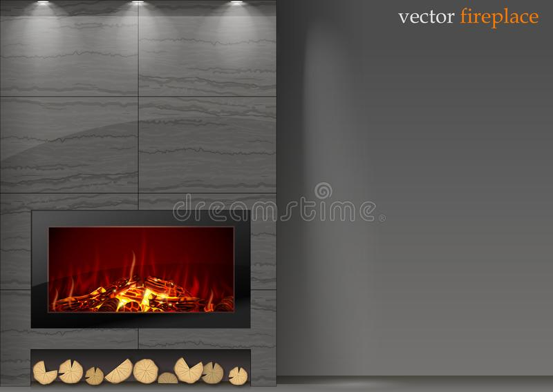 Modern fireplace with fire vector illustration