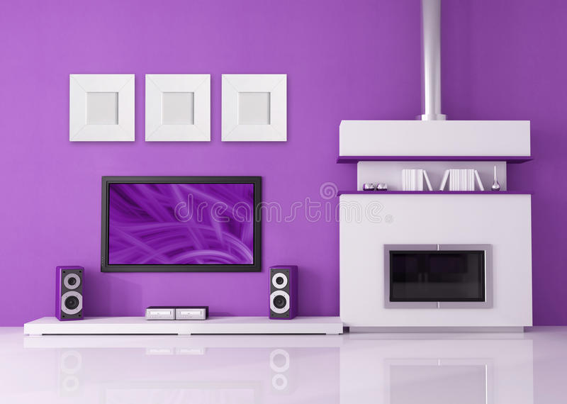 Download Modern Fireplace And Home Cinema Stock Illustration - Image: 11583345