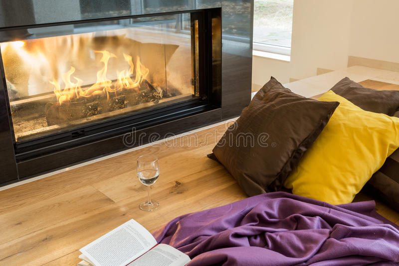 Modern fireplace in huge house royalty free stock photo