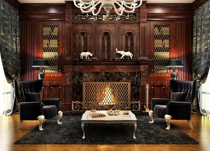 Modern fireplace room design interior royalty free stock image