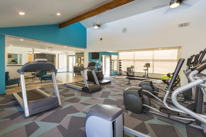 Modern Fitness Center with Treadmills royalty free stock image