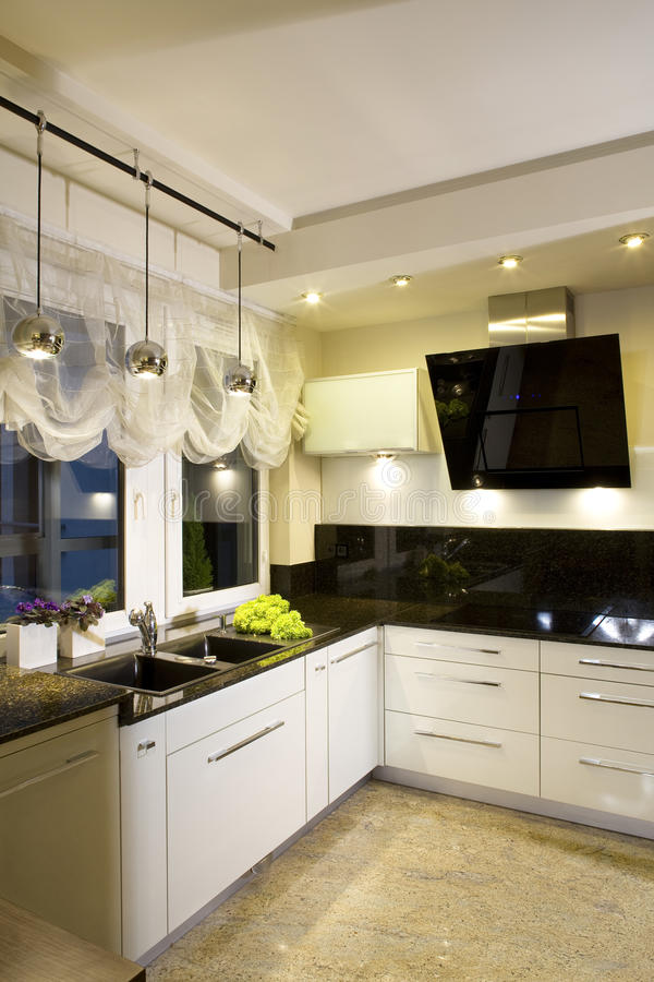 Modern fitted kitchen. Interior details of modern fitted kitchen in home stock images
