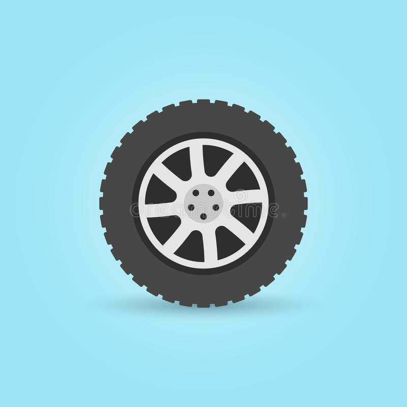 Modern flat car wheel vector icon on blue background stock illustration