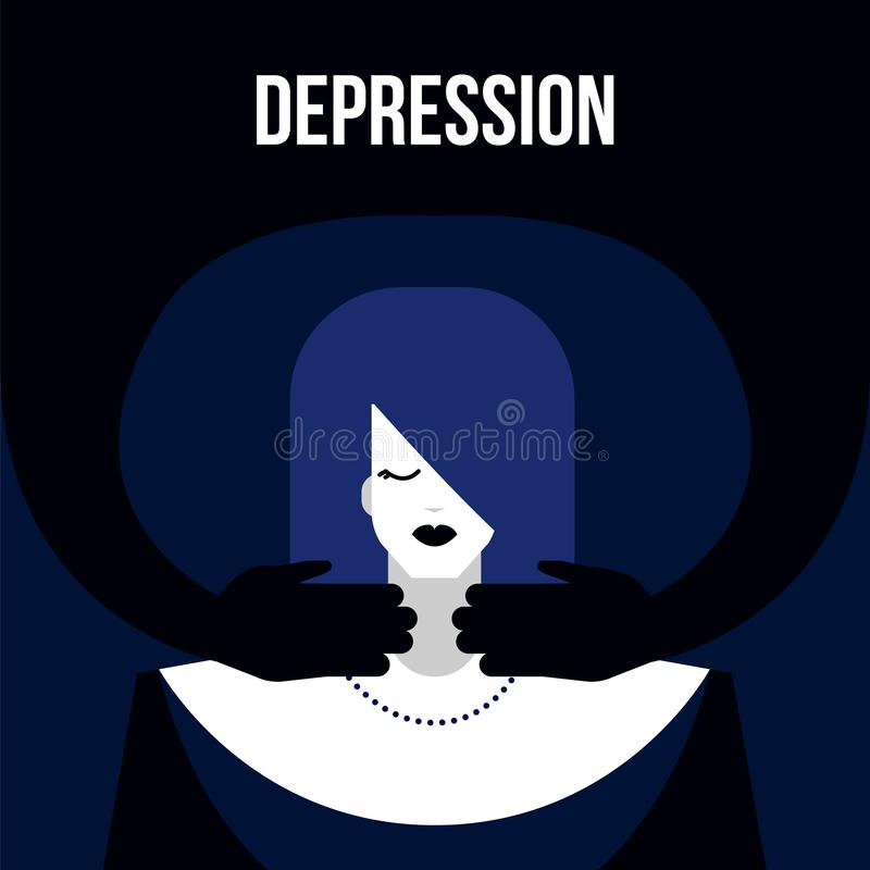 Mental disorder depression. Modern flat depression mental illness disorder prevention prophylaxis concept.Flat style dark mood character with psychology problem stock illustration