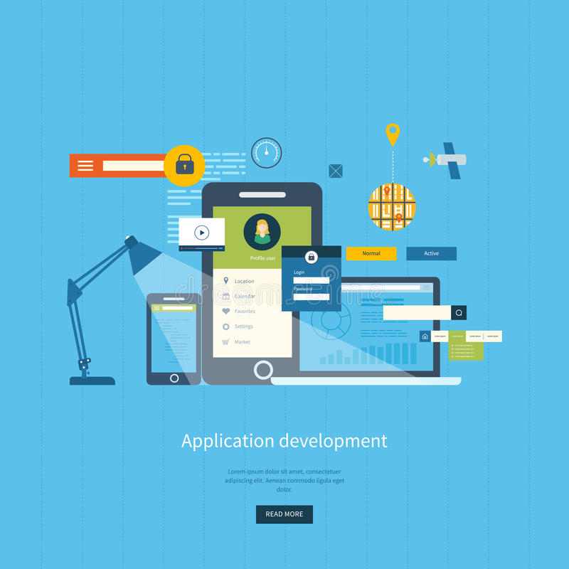 Modern flat design application development concept. For e-business, web sites, mobile applications, banners, corporate brochures. Vector illustration royalty free illustration