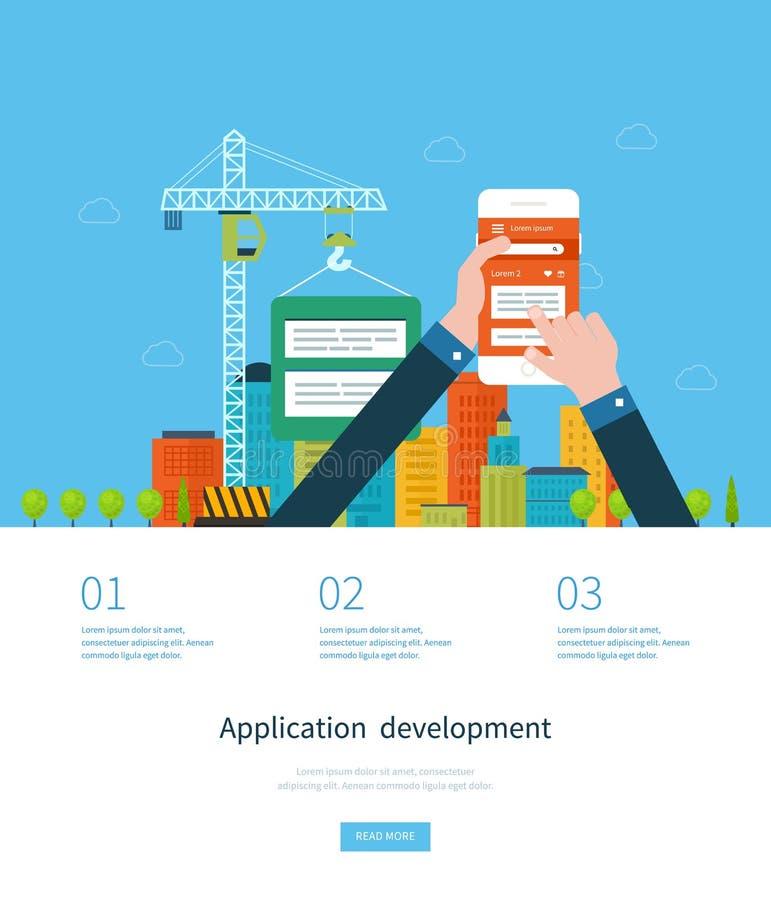 Modern flat design application development concept royalty free illustration