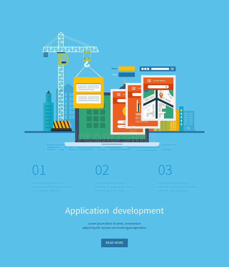 Modern flat design application development concept. For e-business, web sites, mobile applications, banners, mobile navigation. Vector illustration royalty free illustration