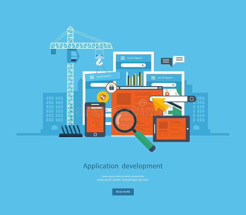 Modern flat design application development concept. For e-business, web sites, mobile applications, banners, mobile navigation. Vector illustration vector illustration