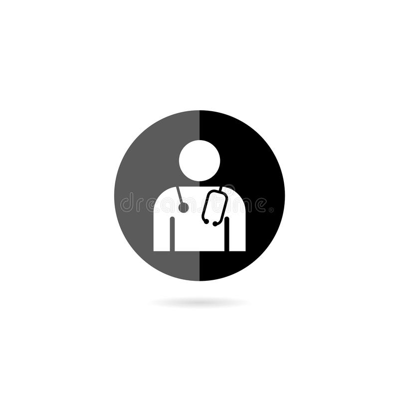 Modern flat design circle icon on medic doctor person with stethoscope on white background royalty free illustration